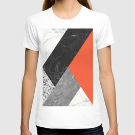 Black and White Marbles and Pantone Flame Color T-shirt