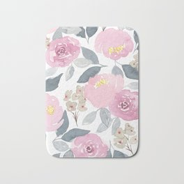 Flowers in Pink Bath Mat
