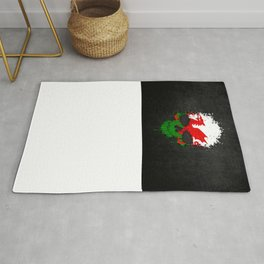 Flag of Wales on a Chaotic Splatter Skull Rug