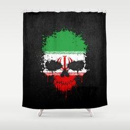 Flag of Iran on a Chaotic Splatter Skull Shower Curtain