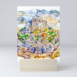 Mont Saint Michel France Watercolor Mini Art Print
