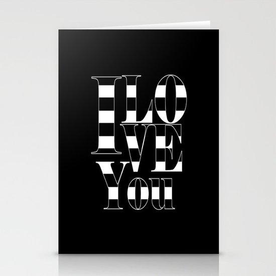 I love you - black Stationery Cards