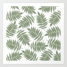 Hand painted forest green tropical leaves pattern Art Print