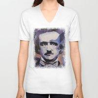 edgar allan poe V-neck T-shirts featuring Edgar Allan Poe by Michael Creese
