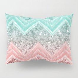 Summer Vibes Glitter Chevron #1 #coral #mint #shiny #decor #art #society6 Pillow Sham