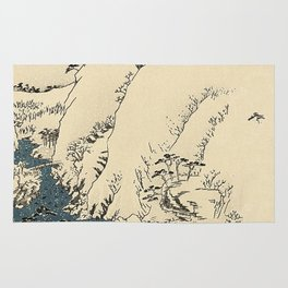 Snowy hills of Kiso in the style of Horoshige Rug