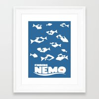 finding nemo Framed Art Prints featuring Finding Nemo by Citron Vert
