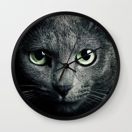 Gray Cat Wall Clock