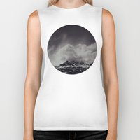 backpack Biker Tanks featuring Mountainscape Black and White by Leah Flores