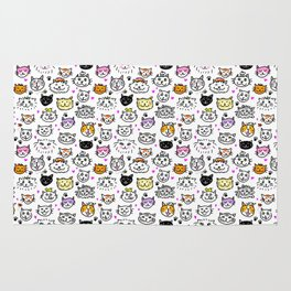 Whimsical Cat Faces Pattern Rug