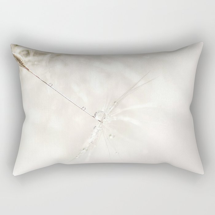 Sparkling dandelion seed head with droplet Rectangular Pillow