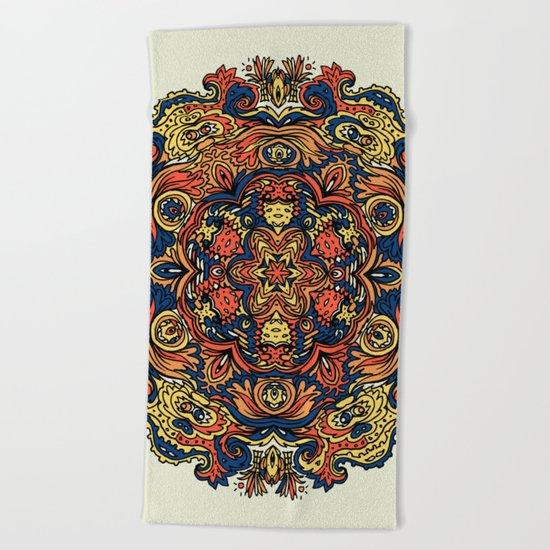 Orange Indian Mandala Beach Towel
