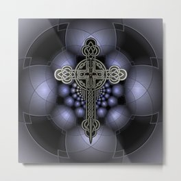 Celtic steel cross Metal Print