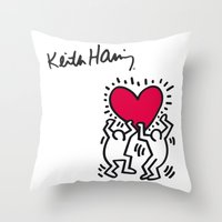 keith haring Throw Pillows featuring Keith Allen Haring Shirt by cvrcak