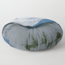 British Columbia morning in the mountains and fog Floor Pillow
