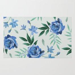 Paper-cut floral denim Rug