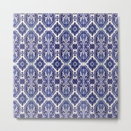 Portuguese Tiles Azulejos Blue White Pattern Metal Print