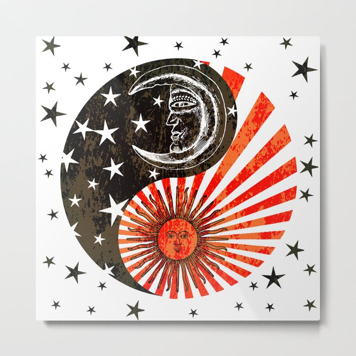 Sun Moon & Stars Yin Yang Distressed Red & Black Design Metal Print