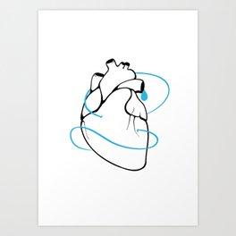 BlueHeart - Depression Art Print