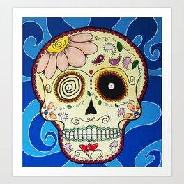 Calavera in Blue Art Print