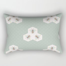 Hand drawing Bee on stylized honeycombs Rectangular Pillow
