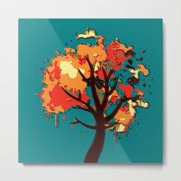 Autumn Tree Abstract Metal Print