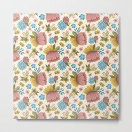 Bright Spring Folk Art Floral Pattern Metal Print