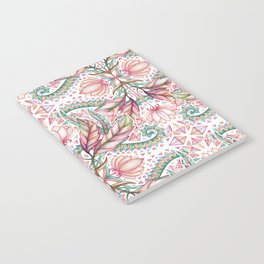 Lily, Leaf & Triangle Pattern – multi-color version Notebook