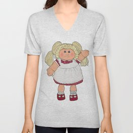 Cabbage Patch Doll on White Unisex V-Neck