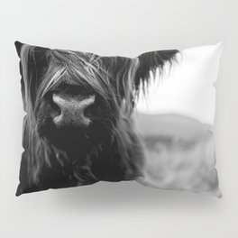 Scottish Highland Cattle Baby - Black and White Animal Photography Pillow Sham