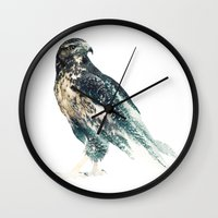 falcon Wall Clocks featuring Falcon by RIZA PEKER