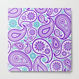 Purple white and turquoise paisley pattern Metal Print