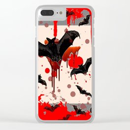 FLYING VAMPIRE BLACK BATS & HALLOWEEN BLOODY ART Clear iPhone Case