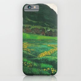 Idyllic Mountain and Meadow Landscape, A Clear Night in June by Nikolai Astrup iPhone Case