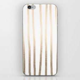 Simply Drawn Vertical Stripes in White Gold Sands iPhone Skin
