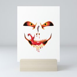 Scary Halloween evil funny face dropping blood from nose and sucking bloody saliva with sneak tongue Mini Art Print