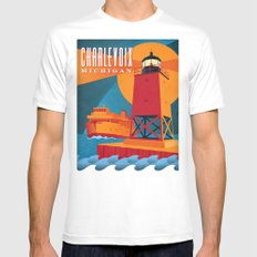 Charlevoix The Beautiful White MEDIUM Mens Fitted Tee