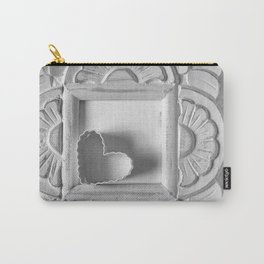 White Frame with white heart Carry-All Pouch