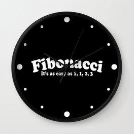 Easy As Fibonacci Funny Math Quote Wall Clock