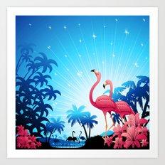 Pink Flamingos on Blue Tropical Landscape Art Print