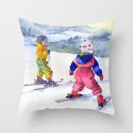 Watercolor skiing, skiers kids Throw Pillow