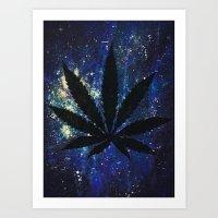 marijuana Art Prints featuring Marijuana Galaxy by Megan Mayhem 17