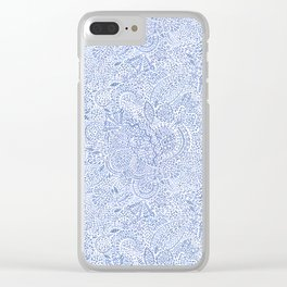 Blue and White Dash Paisley Pattern Clear iPhone Case