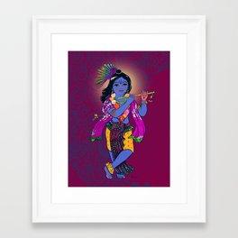 Little Krsna with Flute Colored Framed Art Print