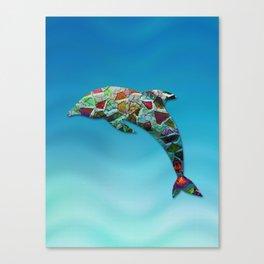 Animal Mosaic - The Dolphin Canvas Print