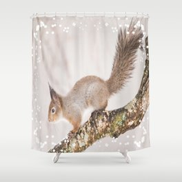 Little squirrel jumping on the branch #decor #society6 #buyart Shower Curtain