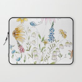 wild flowers and blue bird _ink and watercolor 1 Laptop Sleeve
