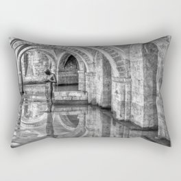 Winchester Cathedral Crypt - Black and White Rectangular Pillow