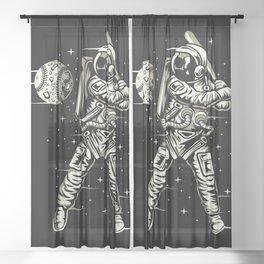 Space Baseball Astronaut Sheer Curtain