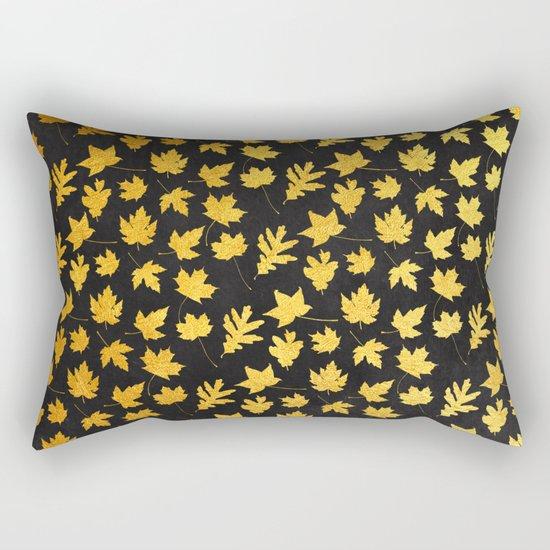 AUTUMN - gold leaves on chalkboard background Rectangular Pillow